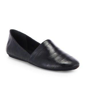 Vince Bogart Black Eel Skin Slip-On Flats